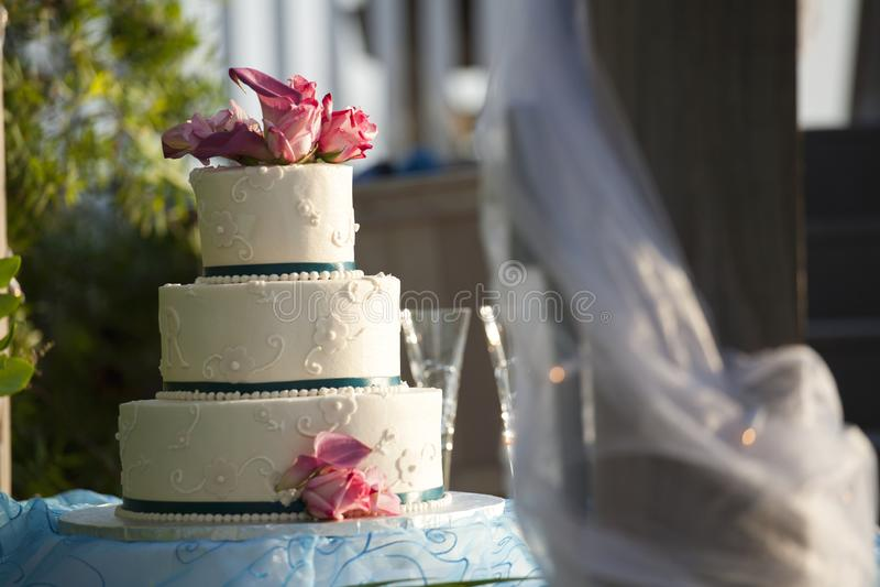 Wedding Cake Outdoors at Reception stock image