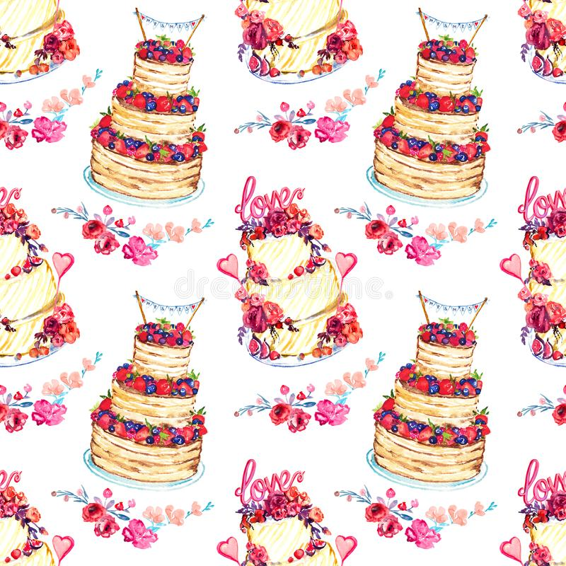 Wedding cake with pink roses and flower compositions with love words and with berries and `mr & mrs` on top. Wedding cake with pink roses and flower compositions stock illustration