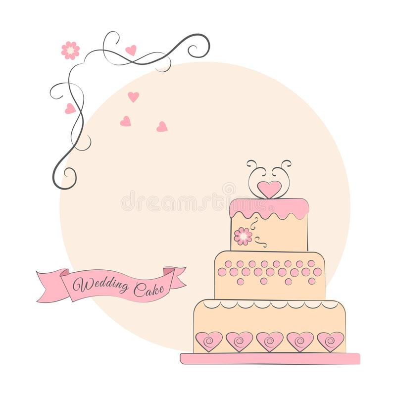 Wedding cake with ribbon on a pink background, vector royalty free illustration