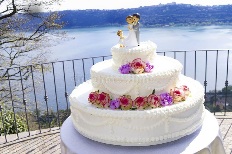 Wedding cake in a roof terrace stock image