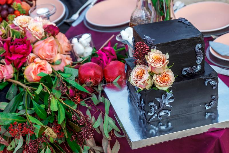 Wedding cake with rose stock images