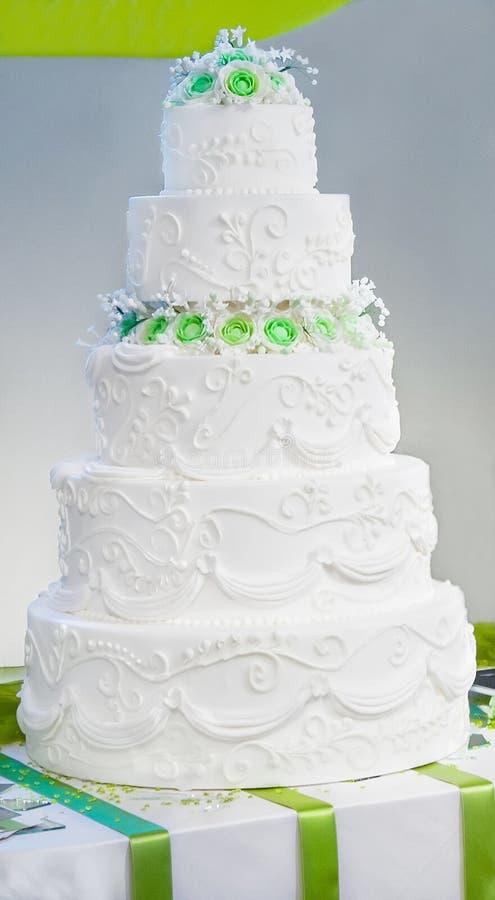 Wedding cake with roses stock photo