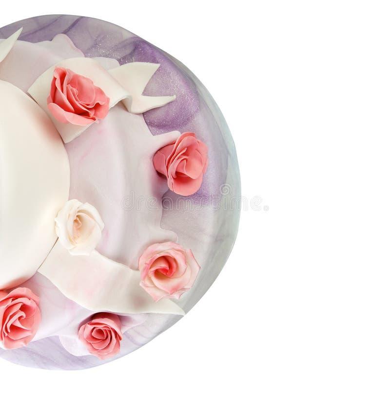 Wedding cake with roses royalty free stock photo