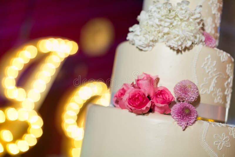 Wedding Cake. A tiered wedding cake at wedding royalty free stock image