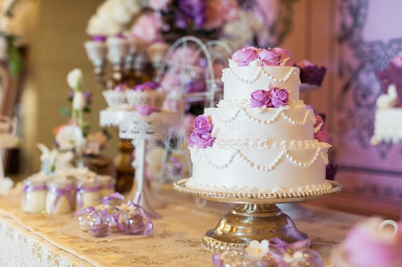 Wedding cake. Tiered wedding cakes at wedding party stock photos