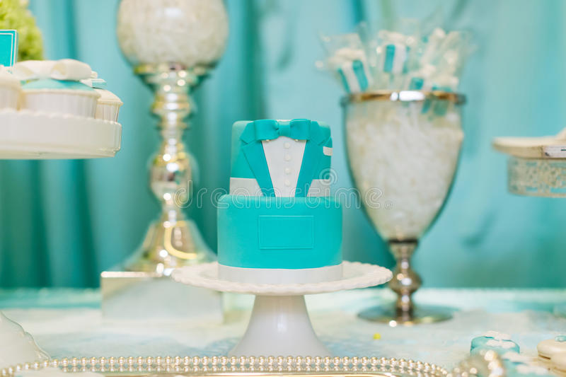 Wedding Cake. A tiered wedding cake at wedding party stock photography