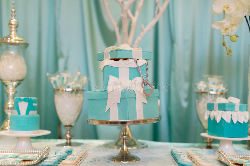 Wedding Cake. A tiered wedding cake at wedding party stock images
