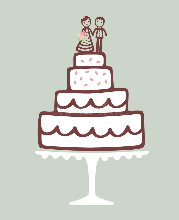 Wedding cake with Topper. Cute Illustration of a Wedding cake with Bride and Groom Chocolate Cake Topper stock illustration
