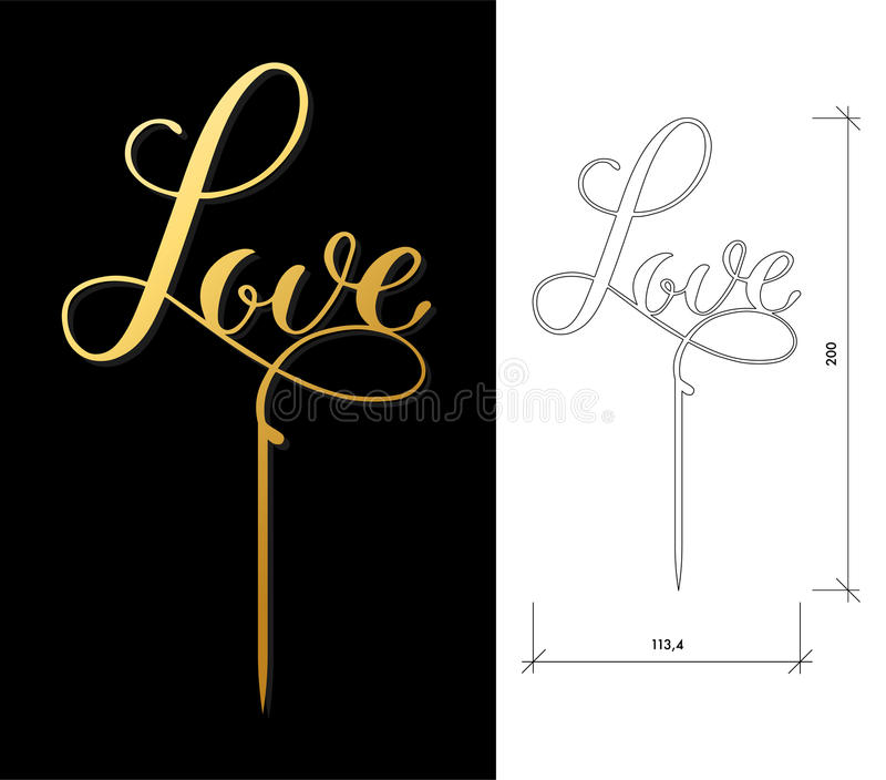 Wedding cake topper stock vector illustration of luxury 91067077 laser cut vector word love cutout handmade silhouette for unique wedding decor the table sign is suitable for way to top of cake in wedding engagement junglespirit Image collections