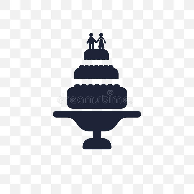 Wedding cake transparent icon. Wedding cake symbol design from W. Edding and love collection. Simple element vector illustration on transparent background royalty free illustration