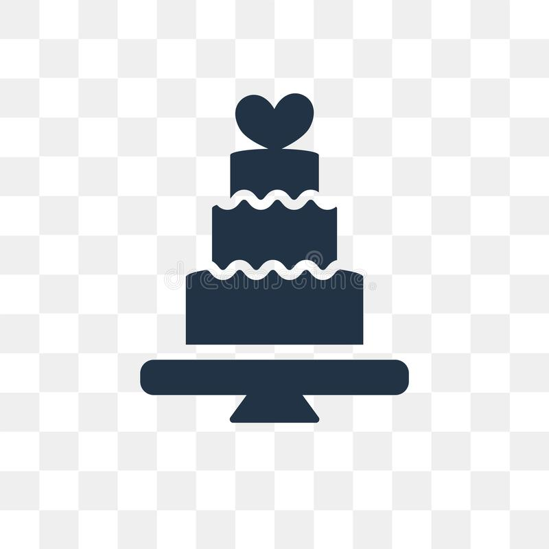 Wedding cake vector icon isolated on transparent background, Wed. Ding cake transparency concept can be used web and mobile stock illustration