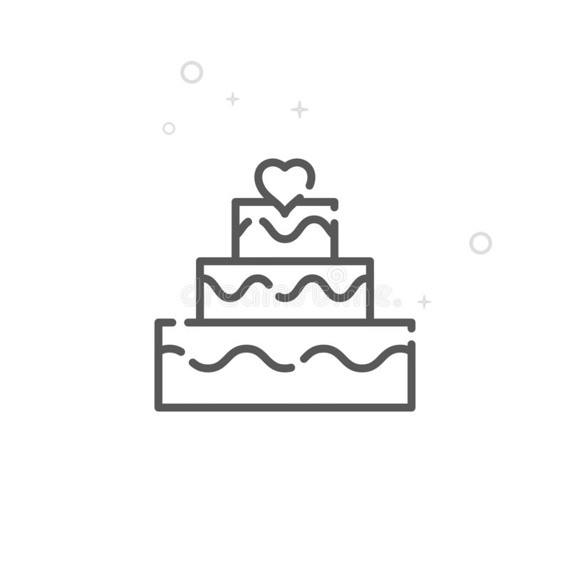 Wedding Cake Vector Line Icon, Symbol, Pictogram, Sign. Light Abstract Geometric Background. Editable Stroke. Wedding Cake Vector Line Icon. Festive Table Symbol vector illustration