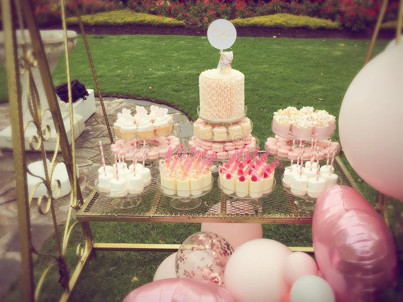 Wedding Cakes. Beautiful wedding cakes in a park royalty free stock photos