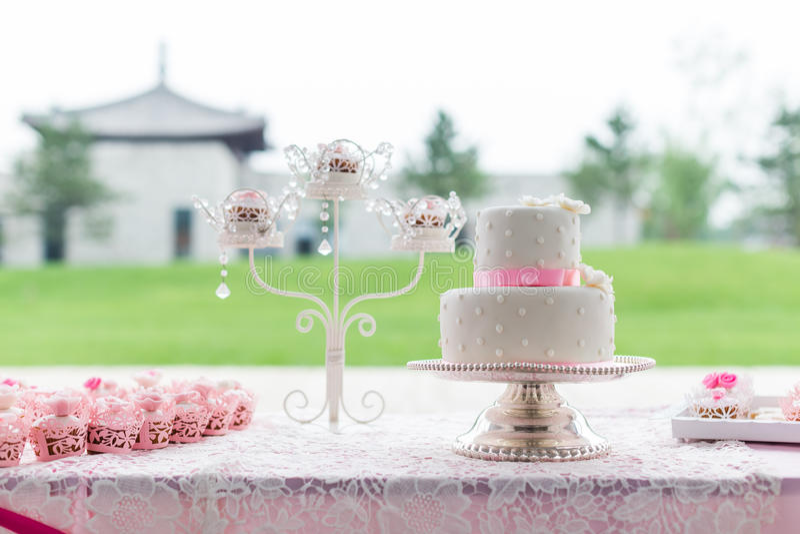 Wedding cakes. At outdoor wedding royalty free stock photo
