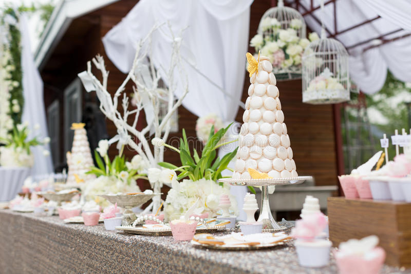 Wedding cakes. At outdoor wedding party royalty free stock photo
