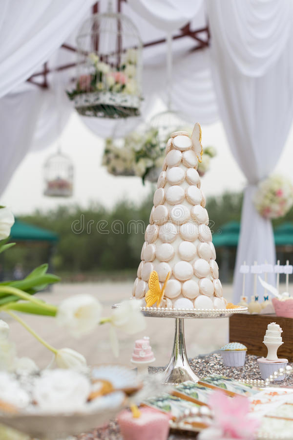 Wedding cakes. At outdoor wedding party stock photo