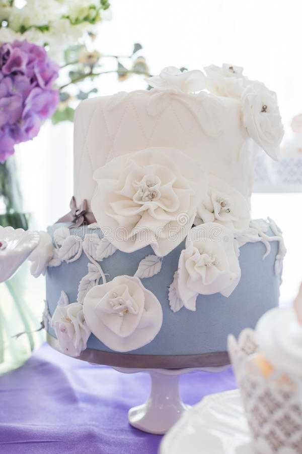 Wedding cakes. Tiered wedding cakes at indoor wedding party royalty free stock photo