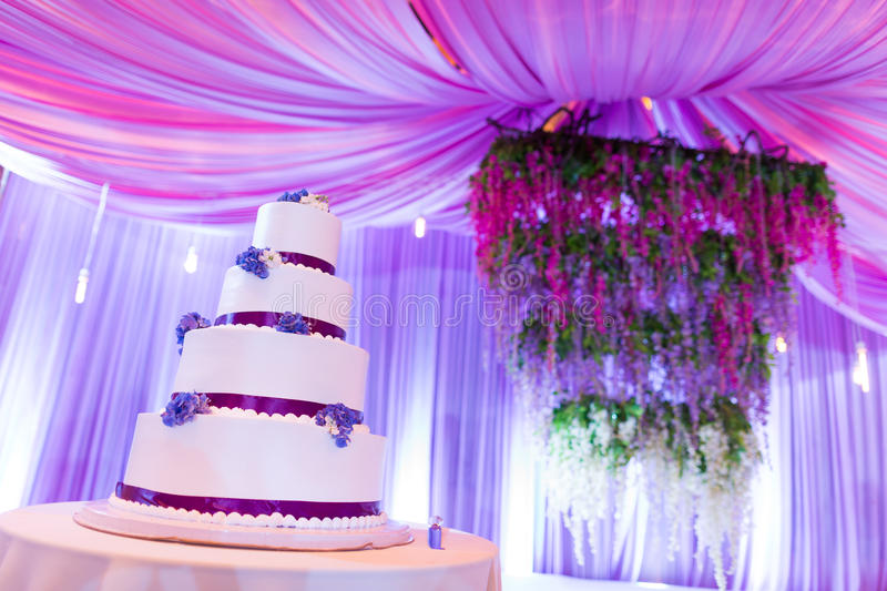 Wedding cakes. Tiered wedding cakes at indoor wedding party royalty free stock image