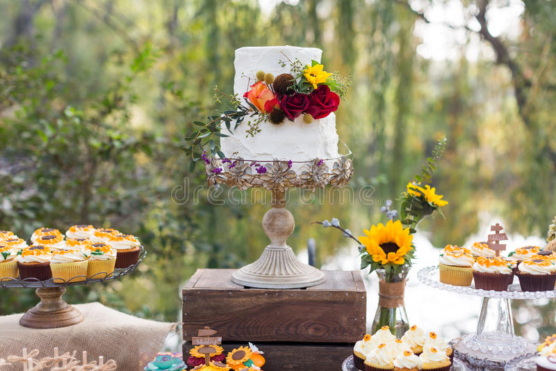 Wedding cakes. Tiered wedding cakes at outdoor wedding party stock images