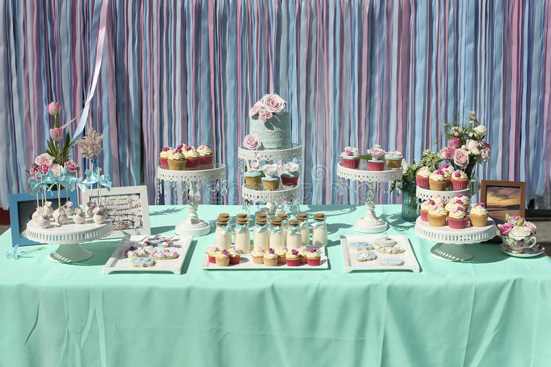 Wedding cakes. Tiered wedding cakes at outdoor wedding party stock photos