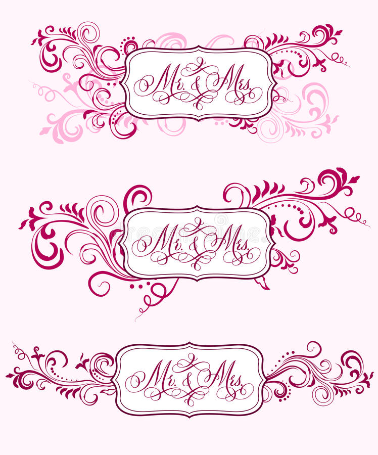 Wedding calligraphy in floral ornaments stock vector