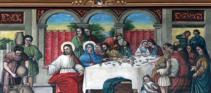 The Wedding at Cana. Fresco in the church of Saint Matthew in Stitar, Croatia stock photos