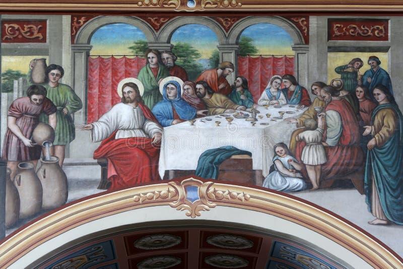 The Wedding at Cana. Fresco in the church of Saint Matthew in Stitar, Croatia stock image