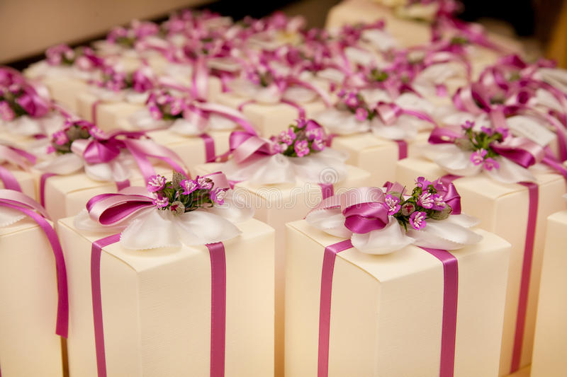Wedding favors. Beautiful wedding gift for guest royalty free stock image