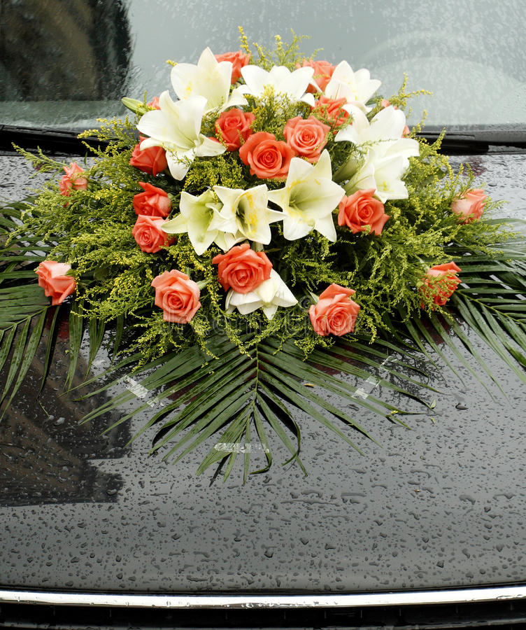 Wedding car. Decorated with colorful flowers in wedding ceremony stock photography