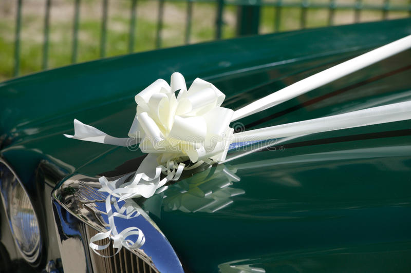 Wedding car. With a white silk ribbon tied in a knot stock photo