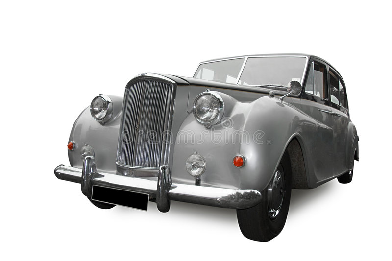 Wedding car. Vintage silver wedding car, isolated on white stock images