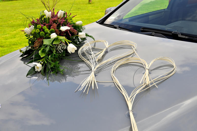 Wedding car. Decked wedding car with florers stock photography