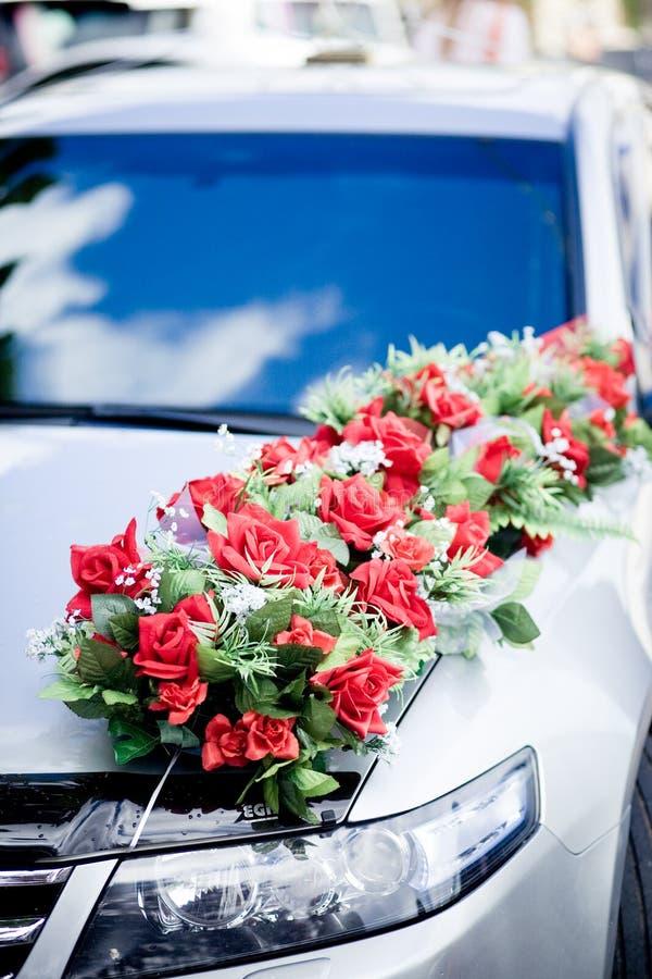 Wedding car decoration royalty free stock image