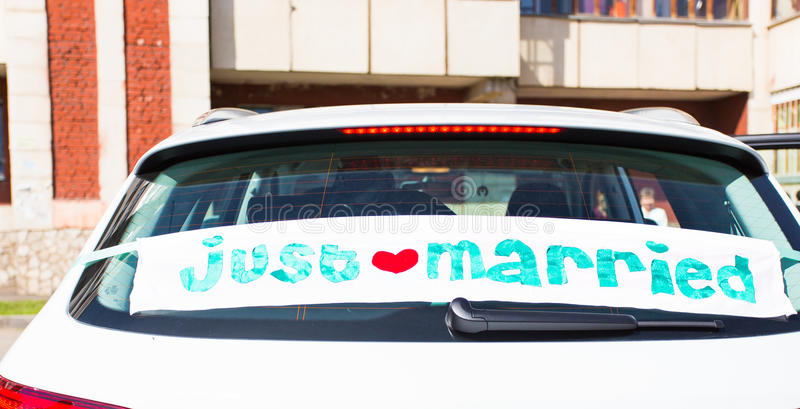 Wedding car with just married sign. In a blackboard stock images