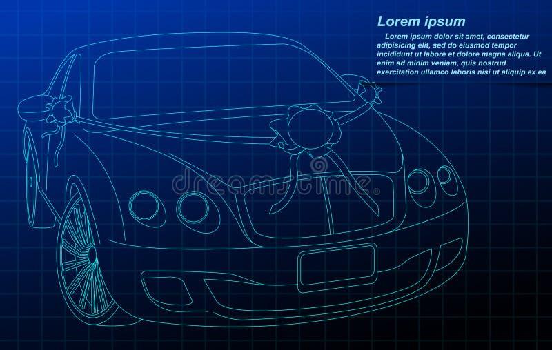 Wedding car outline. vector illustration