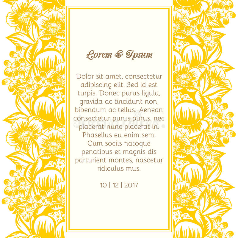 Wedding card. Or invitation with abstract floral background stock illustration