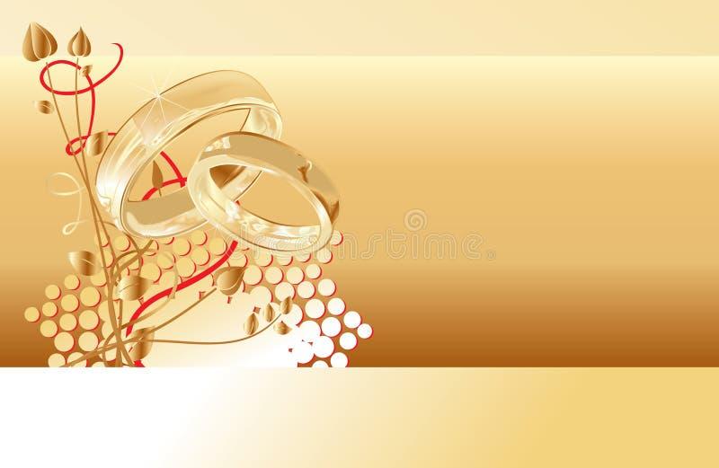 Wedding card. Gold wedding rings card design, vector illustration royalty free illustration