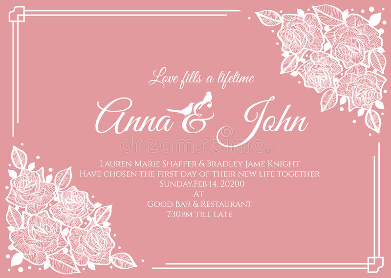 Wedding card - abstract white rose floral frame on pink background vector template design vector illustration