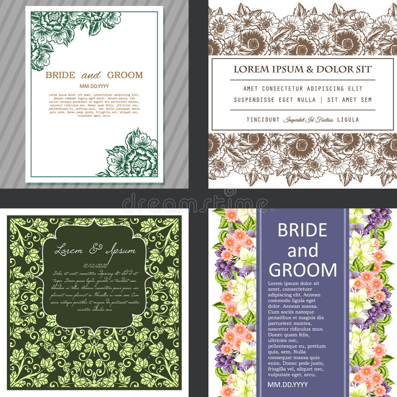 Wedding card. S with floral elements vector illustration