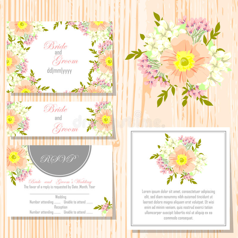 Wedding card. S with floral elements royalty free illustration
