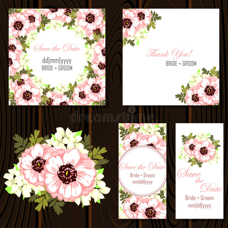 Wedding card. S with floral elements stock illustration