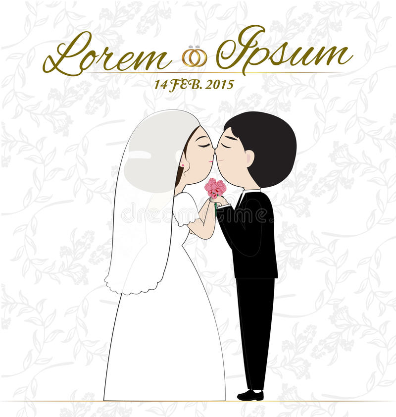 Wedding card. Cuple wedding on white background stock illustration
