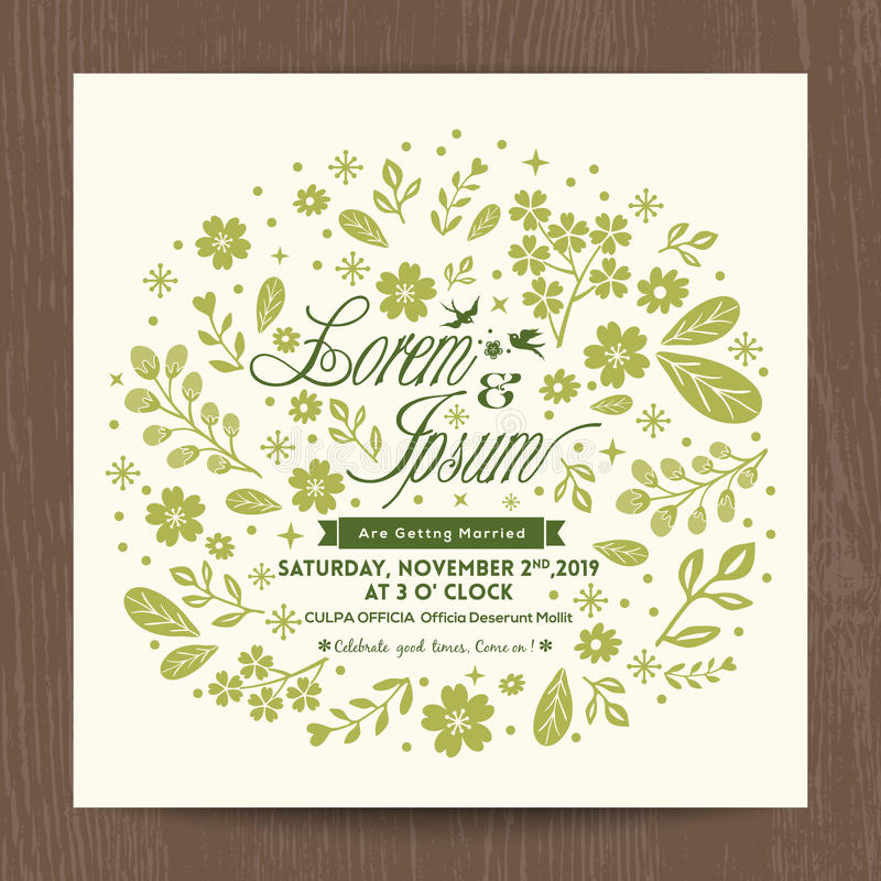 Wedding card with cute green floral background royalty free illustration