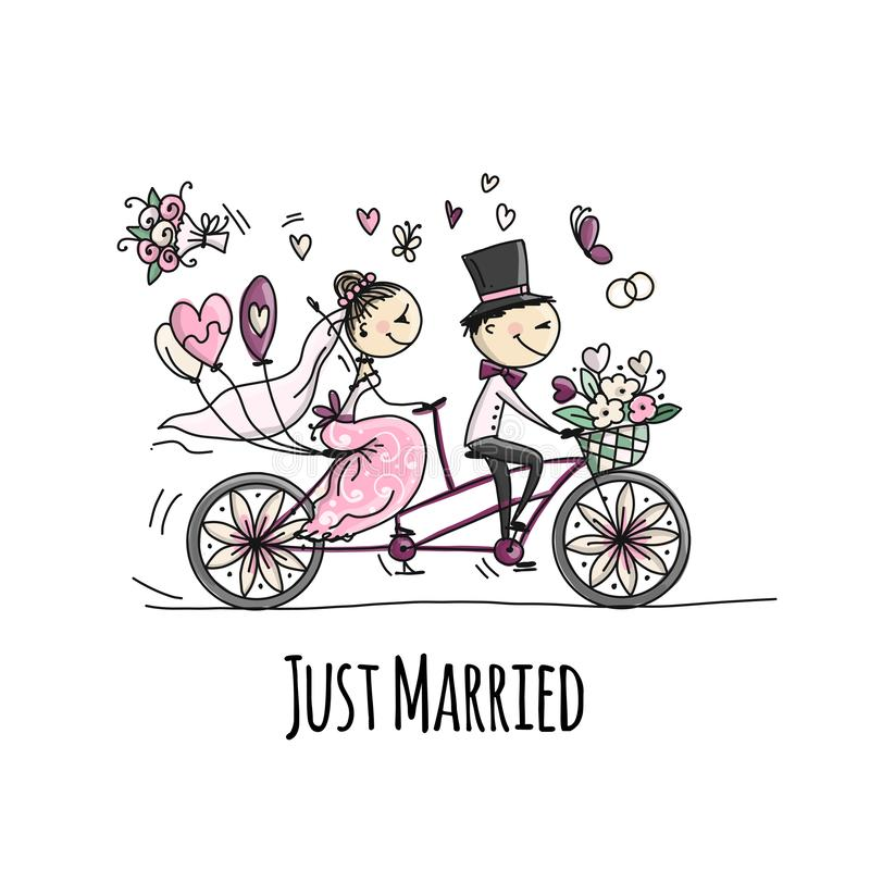 Wedding card design. Bride and groom riding on bicycle royalty free illustration