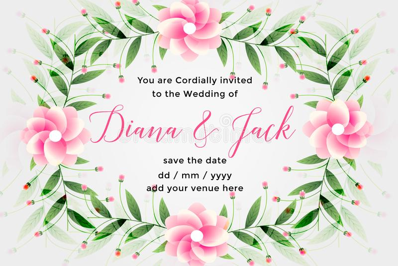 Wedding card design with lovely flower decoration. Vector stock illustration