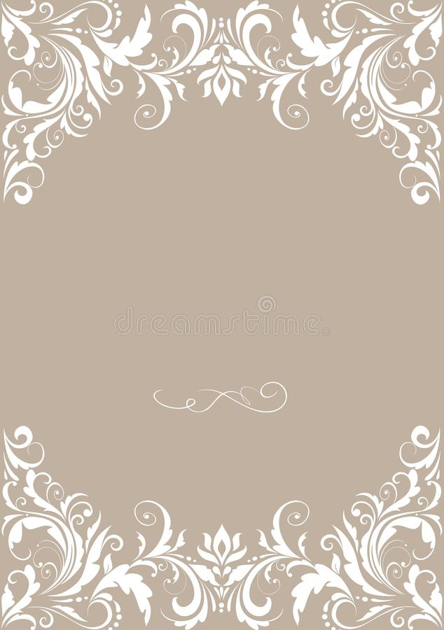 Wedding card. Wedding greeting pastel card with retro floral pattern vector illustration