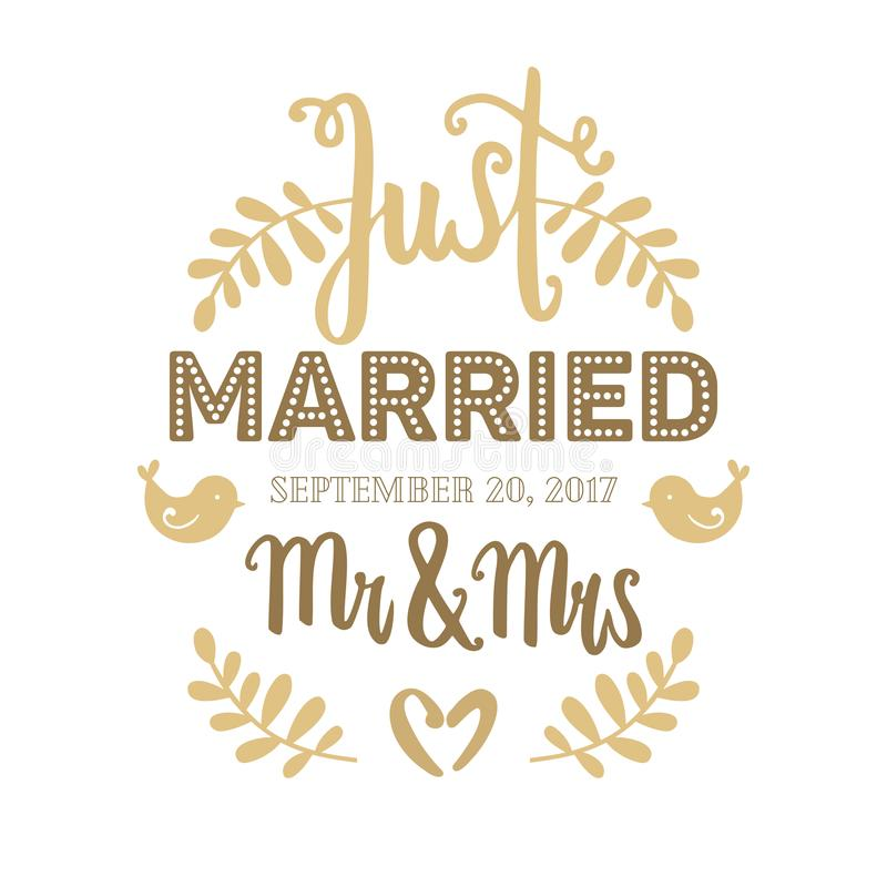 Wedding card hand drawn vector golden lettering with plants, birds and hearts. Just married, Mr & Mrs royalty free illustration