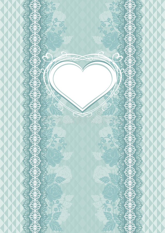 Wedding card with heart frame stock illustration