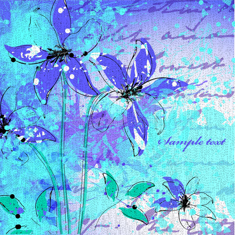 Wedding card or invitation with abstract flower ba stock illustration