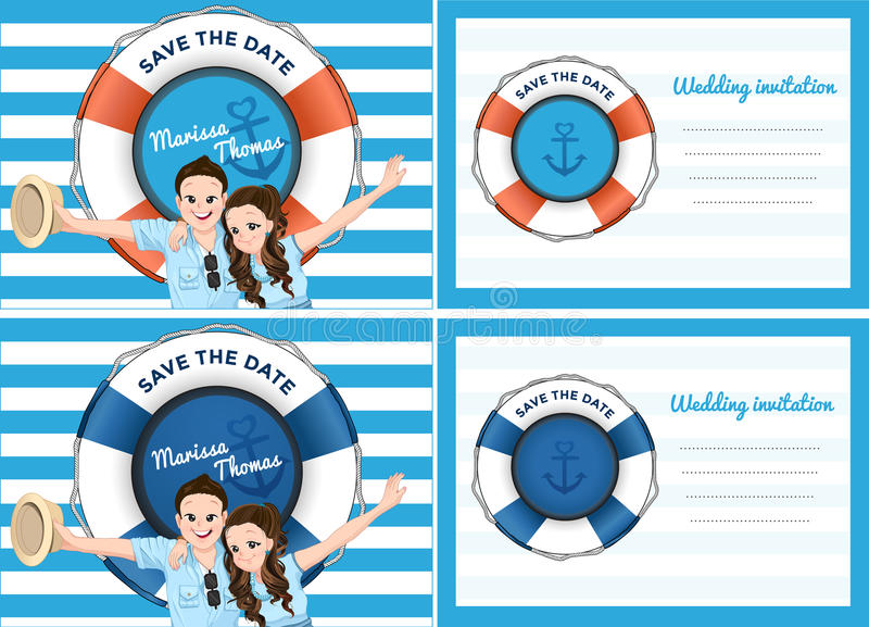 Wedding card invitation in blue sea theme. stock illustration